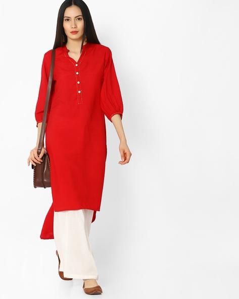 High-Low Kurta With Mandarin Collar By OVI ( Red )