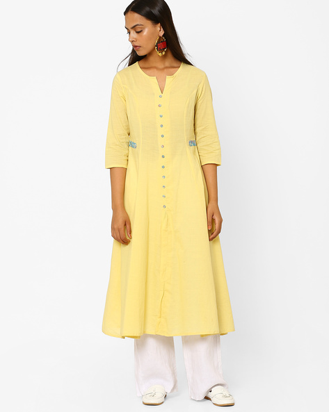 Flared Kurta With Printed Peg Buttons By AJIO ( Yellow )