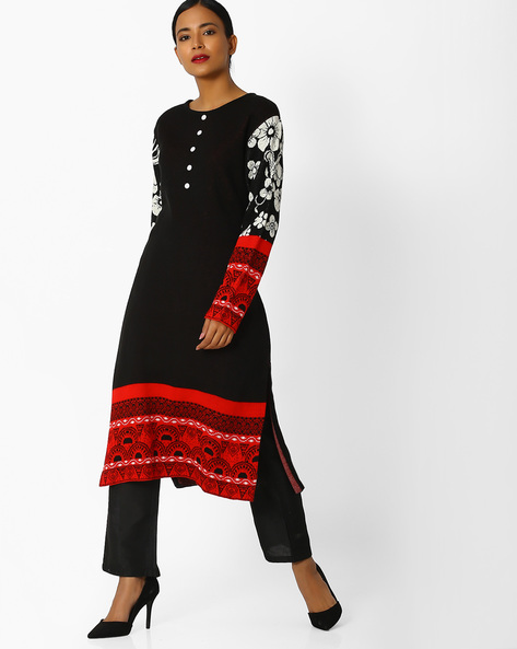 Self-Design Straight Kurta By Indian Ink ( Black )