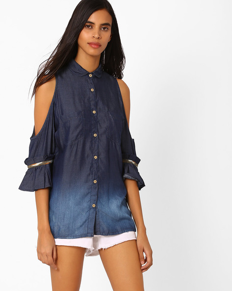 Denim Shirt With Cold-Shoulder Sleeves By Vajor ( Dkblue )