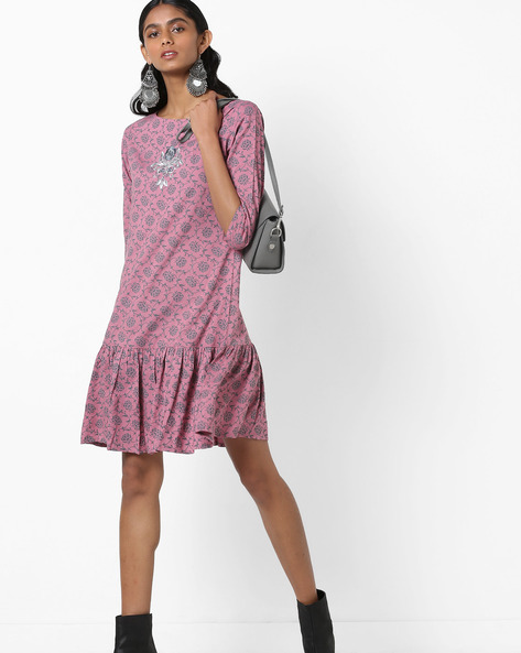 Floral Print A-line Dress With Flounce Hem By AJIO ( Rose )