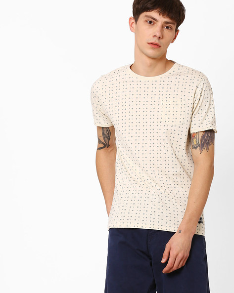 Micro Print T-shirt With Patch Pocket By FLYING MACHINE ( White )