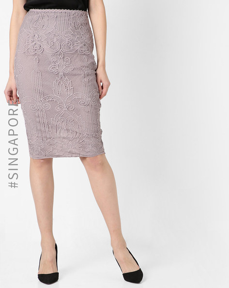 Lace Pencil Skirt By MDS ( Taupe )