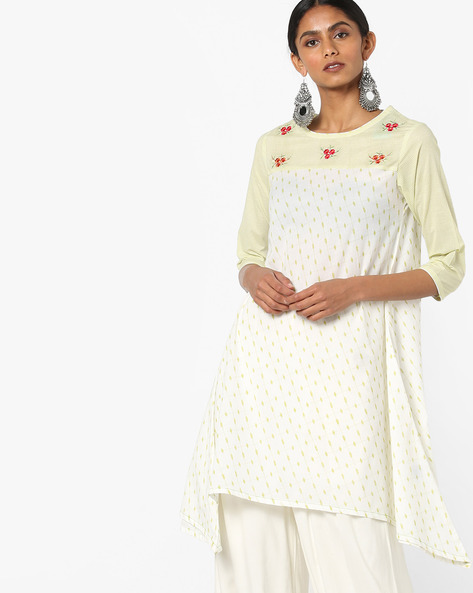 Printed A-line Kurta With Asymmetric Hem By AJIO ( Lime )