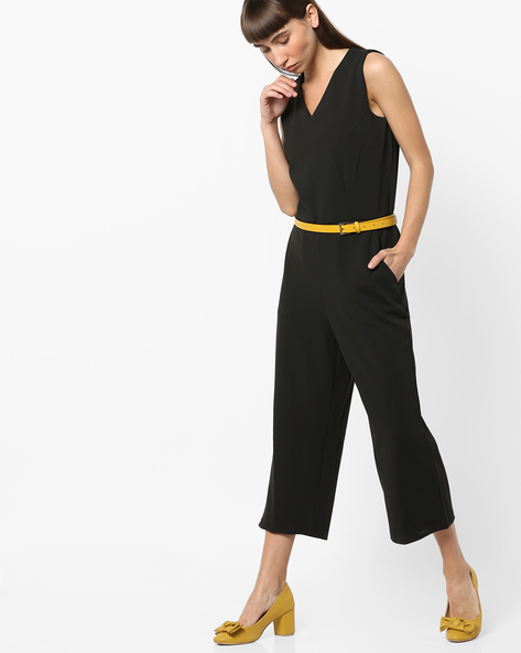 Sleeveless V-neck Jumpsuit With Detachable Belt By AJIO ( Black )