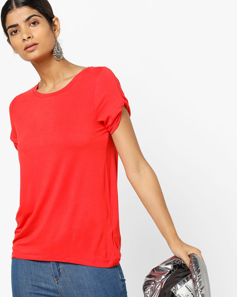 Crew-Neck T-shirt With Knotted Sleeves By Vero Moda ( Red )