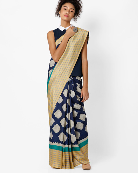 Printed Art Silk Saree By Amori ( Blue )