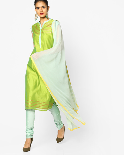 Kurta Suit Set With Dupatta By AJIO ( Limegreen )