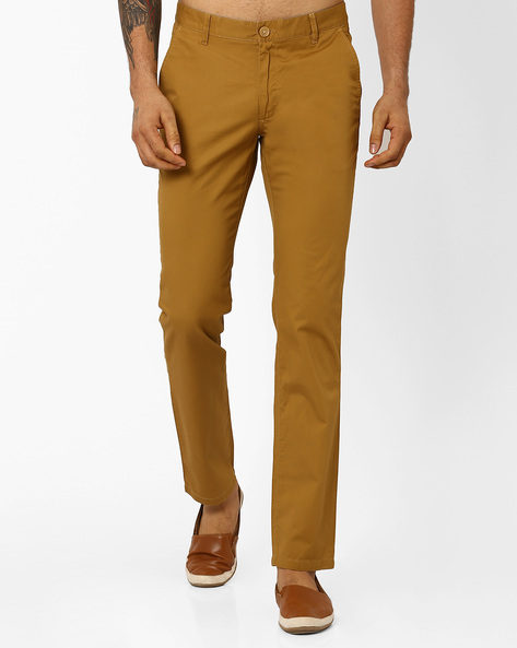 Slim Fit Cotton Trousers By JOHN PLAYERS ( Brown ) - 440735958001