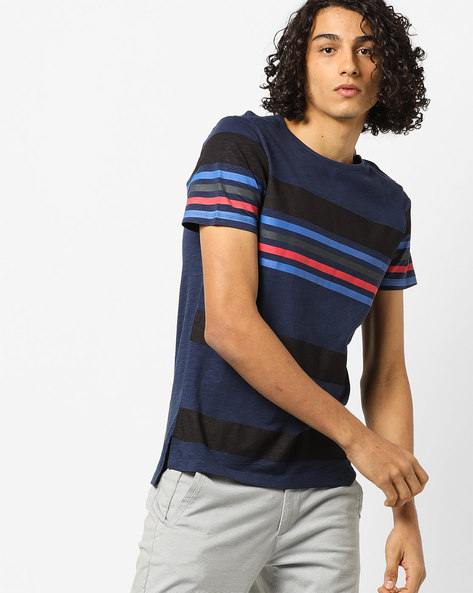 Colourblock Striped T-shirt With Crew-Neck Styling By AJIO ( Blue )