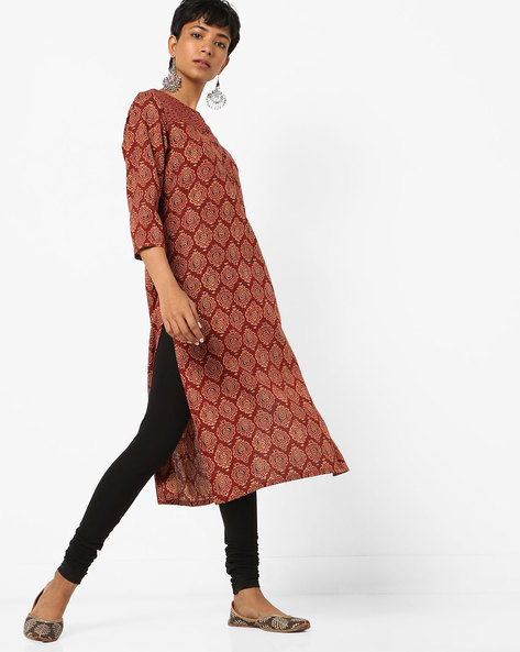 Block Print Kurta With Patterned Yoke By AJIO ( Maroon )