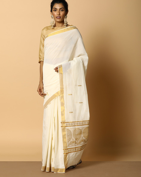 Kerala Kasavu Cotton Saree With Ornate Pallu And Buti By Indie Picks ( Offwhite ) - 460104578001