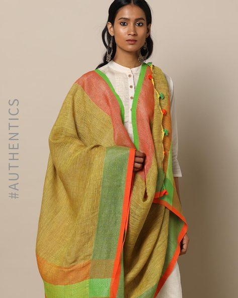 Handloom Linen Dupatta With Pom-Pom Detail By Indie Picks ( Multi ) - 460164377001