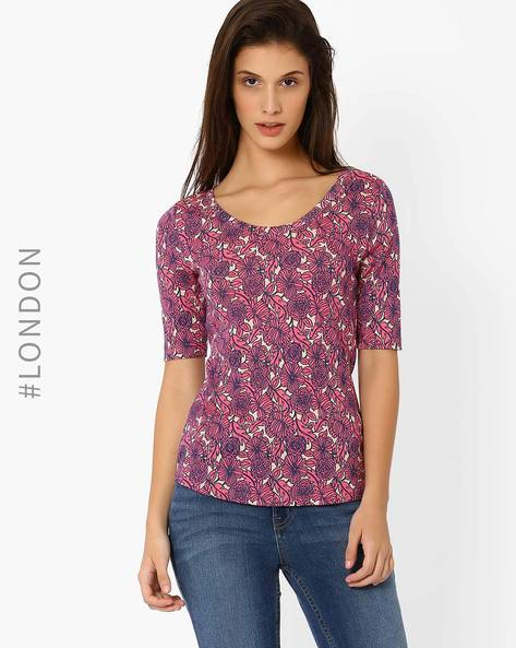 Printed Scoop Neck T-shirt By Marks & Spencer ( Pink )