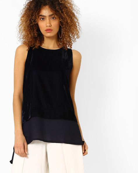 Panelled Top With High-Low Hem By Evah London ( Navyblue )