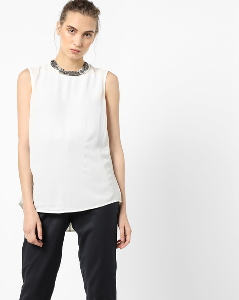 Sleeveless Top With Embellished Neckline By Project Eve WW Evening ( Offwhite )