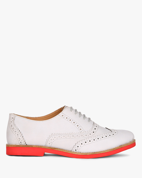 Wingtip Oxford Shoes With Lace-Ups By AJIO ( Grey )