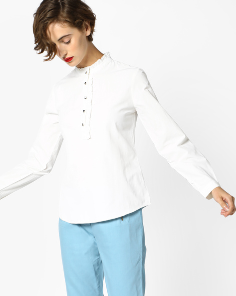 Full-Sleeved Shirt With Ruffle Collar By AJIO ( White )