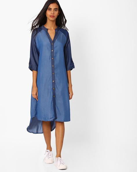High-Low Denim Shirt Dress By Vajor ( Sblue ) - 460050431001