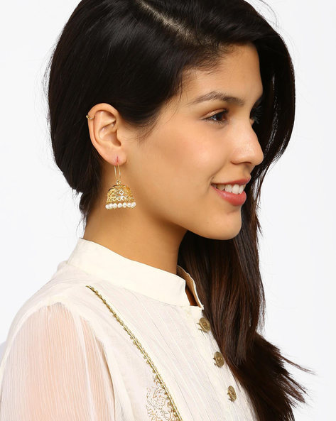 Gold-Plated Beaded Jhumkas By Fida ( Gold )
