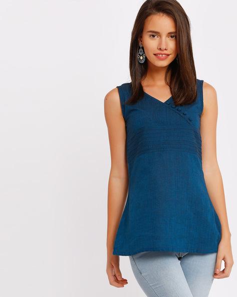 V-neck Top With Pintucks By SIYAHI ( Blue )