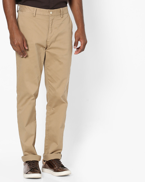 Mid-Rise Flat-Front Trousers By US POLO ( Khaki )