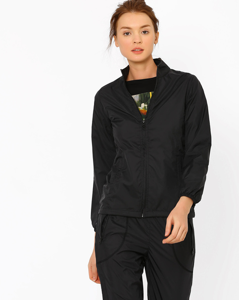 High-Neck Quilted Jacket By AJIO ( Black )