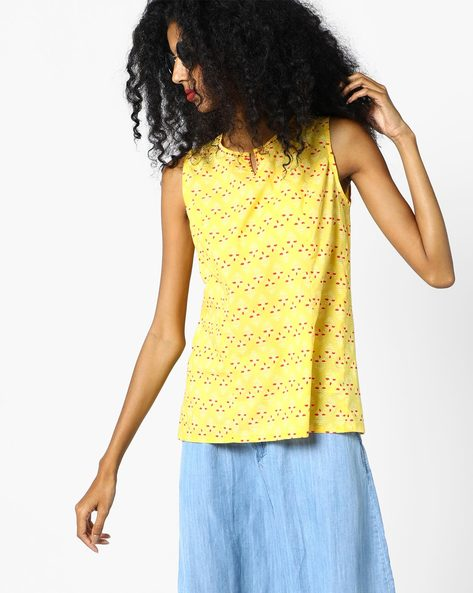 Printed Sleeveless Tunic Top By AJIO ( Yellow )