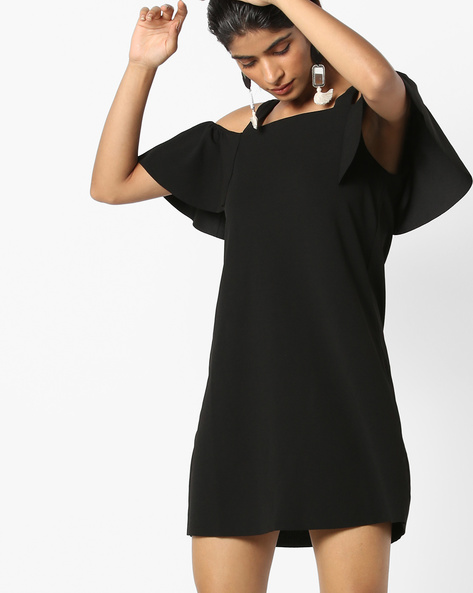 Cold-Shoulder Dress With Ruffles By Only ( Black )