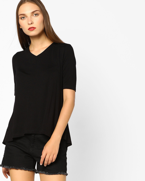 Relaxed Fit V-neck Top By CODE By Lifestyle ( Black )