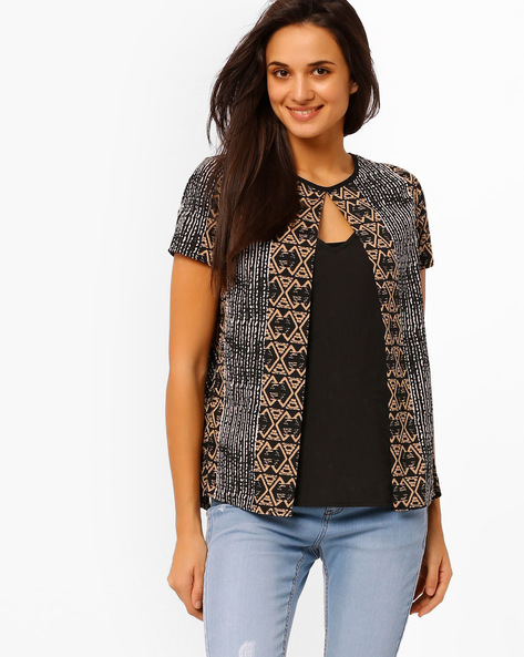 Printed Layered Top By Oxolloxo ( Black )