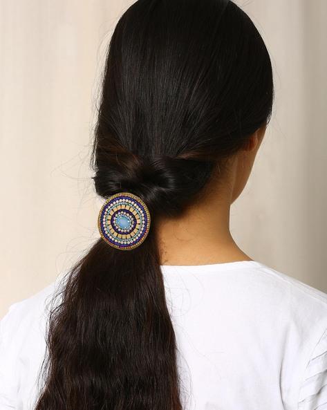 Beaded Rubber Hairband By Indie Picks ( Lightblue )