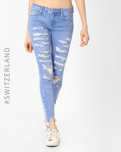 Low-Rise Distressed Skinny Jeans By TALLY WEiJL ( Blue )