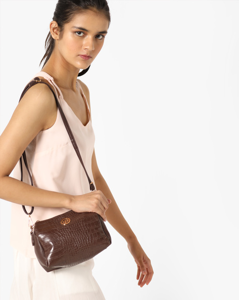 Croc-Embossed Sling Bag By Lino Perros ( Brown )