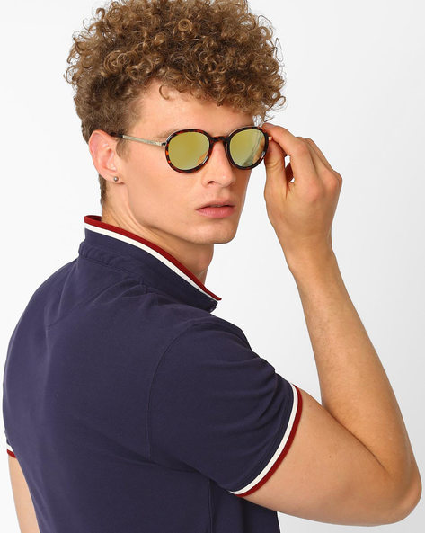 Mirrored Round Sunglasses By Joe Black ( Green )