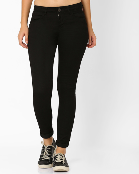 Slim Fit Jeans With 4-Pockets By SF Jeans By Pantaloons ( Black )