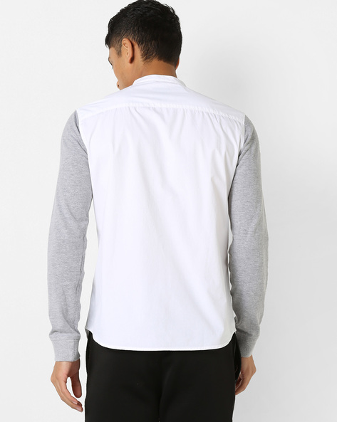 Graphic Print Shirt With Contrast Sleeves By AJIO ( White )