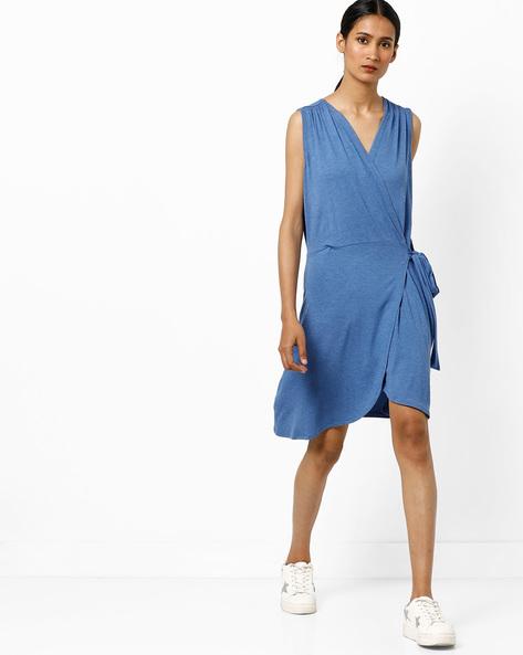 Knitted Sleeveless Wrap Dress By AJIO ( Blue )