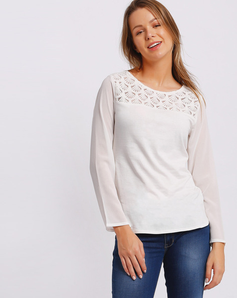 High-Low Top With Lace Crochet Yoke By RIO ( White )