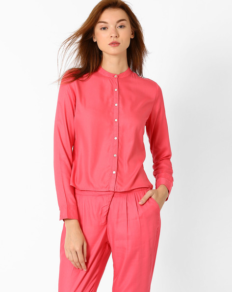 Shirt With Printed Back By AJIO ( Pink )