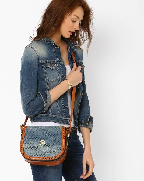 Faux Leather Sling Bag By Lino Perros ( Blue )