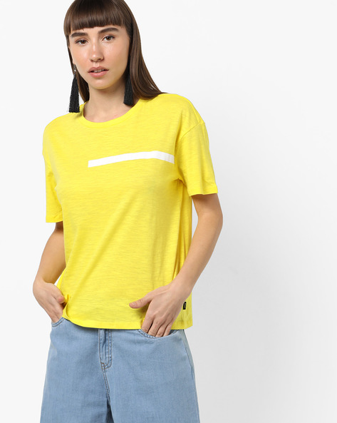 Heathered Cotton T-shirt With Drop-Shoulders By Only ( Gold )