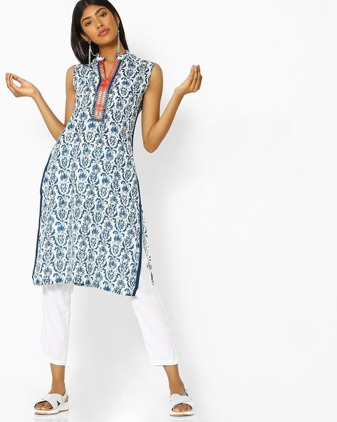 All-Over Print Cotton Kurta By SOCH ( Indigo )
