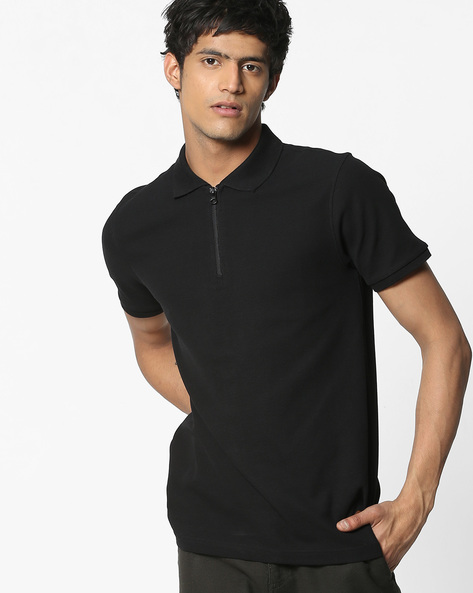 Cotton Polo T-shirt With Zip Closure By DNMX ( Black )