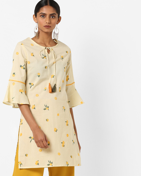 Printed Kurta With Bell Sleeves By AJIO ( Lgtyellow )