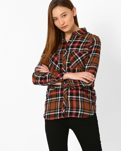 Checked Shirt With Patch Pockets By Only ( Lgttan )
