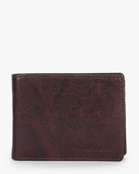 Textured Bi-Fold Leather Wallet By Lino Perros ( Brown )