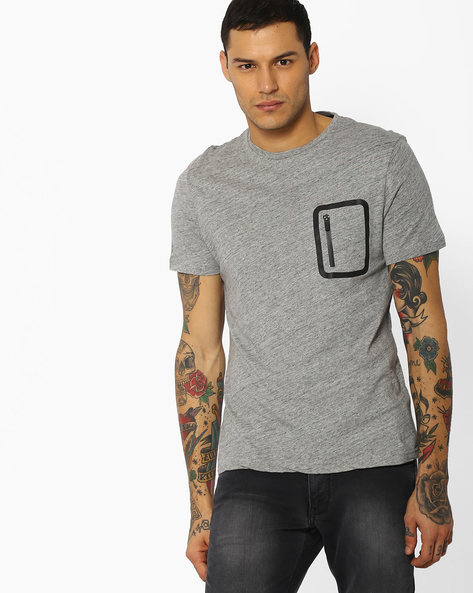Crew-Neck T-shirt With Zip Pocket By Celio ( Grey )