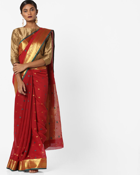 Woven Jacquard Saree With Zari Border By Era ( Dkred )