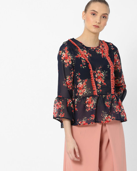 Peplum Top With Floral Print By Rena Love ( Navy )